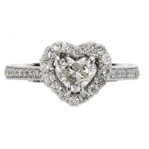 0.53ct Heart Shape Diamond Halo Engagement Ring