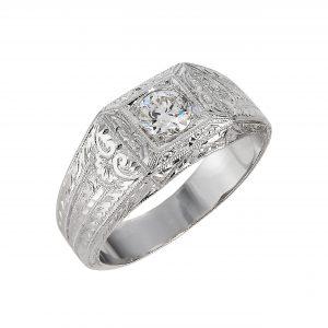 Art Deco 0.57ct Diamond Hand Engraved Men's Ring