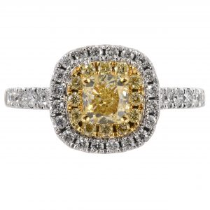 0.71ct Cushion Fancy Yellow Diamond Halo Ring