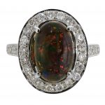 2.00ct Ethiopian Black Opal & Diamond Halo Ring