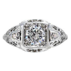 0.66ct Diamond Art Deco Filigree Engagement Ring