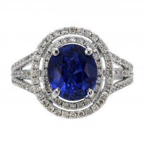 2.48ct Oval Cut Sapphire & Diamond Halo Ring