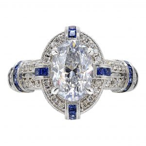 2.21ct Oval Diamond Antique Revival Engagement Ring