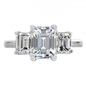 2.01ct Emerald Cut Diamond Three-Stone Engagement Ring