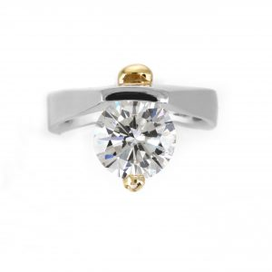3.16ct Round Brilliant Cut Diamond 'Embrace' Solitaire Engagement Ring