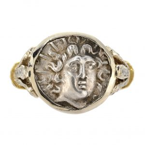 Rhodes Silver Hemidrachm Two-Tone Coin Ladies' Ring