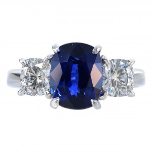 3.93ct Cushion Cut Sapphire & Diamond Ring