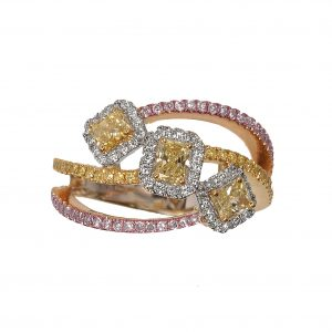 "Radiant Yellow Diamond ""Dancing Diamonds"" Ring"