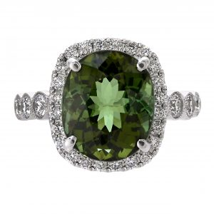 5.75ct Oval Green Tourmaline & Diamond Halo Ring