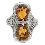 Citrine Bow Art Deco Filigree Ring