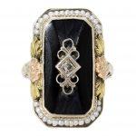 Art Deco Black Onyx and Diamond Filigree Ring