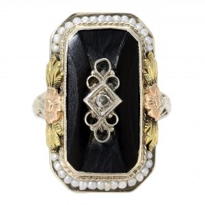 Art Deco Black Onyx and Diamond Filigree Ring