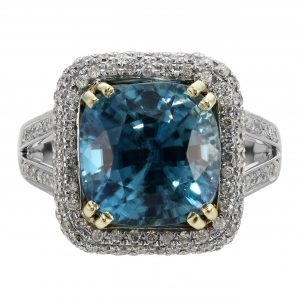 10.20ct Cushion Cut Natural Blue Zircon & Diamond Halo Ring
