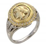 Hekte Sixth Stater Coin Ladies' Ring with Diamond Halo