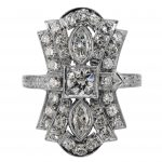 Art Deco Diamond Flared Ring