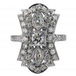 Art Deco Diamond Flared Ring