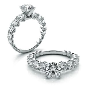 2.08ct Round Brilliant Cut Diamond Graduated Engagement Ring