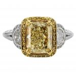 2.34ct Radiant Fancy Yellow Diamond Antique Revival Halo Ring