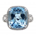 11.31ct Cushion Cut Aquamarine & Diamond Halo Ring