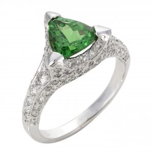1.71ct Trilliant Cut Tsavorite & Diamond 'Velvet' Ring