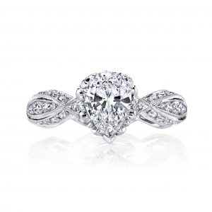 1.01ct Pear Shape Diamond Antique Revival Engagement Ring