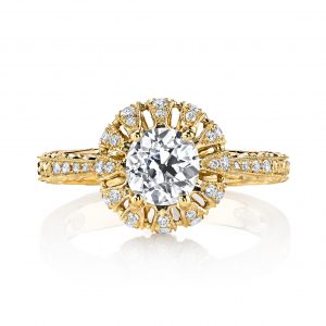 0.98ct Cushion Cut Diamond Antique Revival Crown Engagement Ring