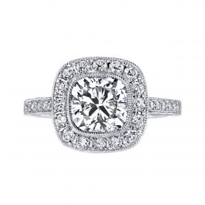 2.07ct Square Cushion Cut Diamond Antique Revival Engagement Ring