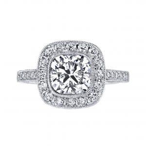 2.07ct Square Cushion Cut Diamond Antique Revival Engagement Ring