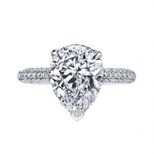 4.10ct Pear Shape Diamond Pave Engagement Ring