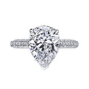 4.10ct Pear Shape Diamond Pave Engagement Ring