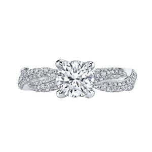 1.04ct Round Brilliant Cut Diamond Pave Woven Engagement Ring
