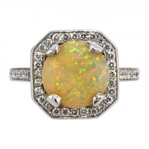 1.83ct Fire Opal & Diamond Halo Ring