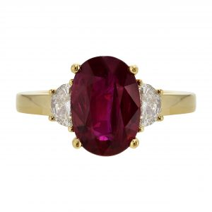 2.90ct Oval Cut Ruby & Diamond Ring