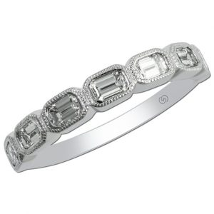 Antique Revival Emerald Cut Diamond Band