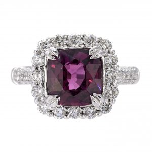 3.26ct Purple Garnet & Diamond Halo Ring