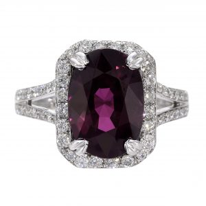 4.86ct Purple Garnet & Diamond Halo Ring