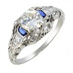 Art Deco Diamond & Sapphire Filigree Ring