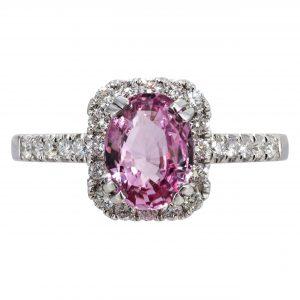 1.49ct Padparadscha Sapphire & Diamond Halo RIng