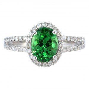1.41ct Tsavorite Garnet & Diamond Halo Ring