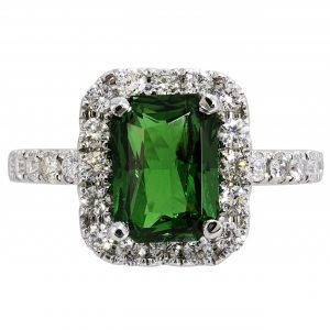 2.14ct Radiant Cut Tsavorite & Diamond Halo Ring