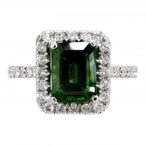 3.10ct Emerald Cut Tsavorite & Diamond Halo Ring