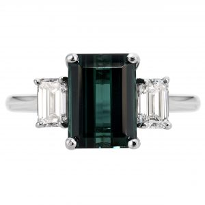 2.82ct Indicolite Tourmaline & Diamond Three-Stone Ring