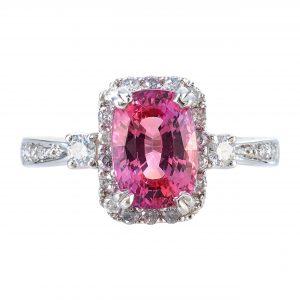 2.43ct Padparadscha Sapphire & Diamond Ring