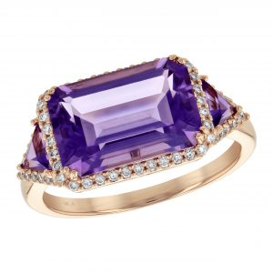 3.00ct Amethyst & Diamond East-West RIng