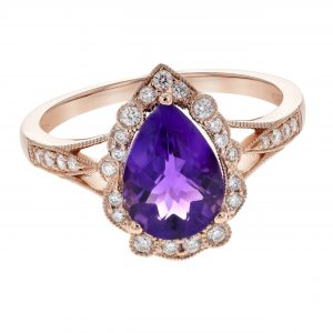 1.53ct Pear Shape Amethyst & Diamond Ring