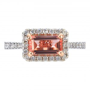 1.00ct Imperial Topaz & Diamond East-West Halo Ring