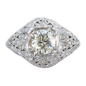 Art Deco 0.96ct Diamond Filigree Engagement Ring