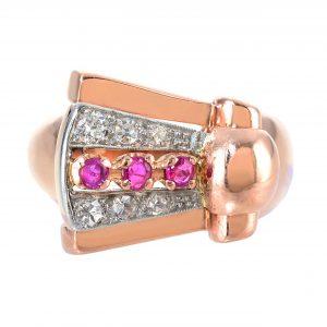 Retro Ruby & Diamond Buckle Ring