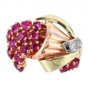 Retro Ruby & Diamond Bouquet Ring