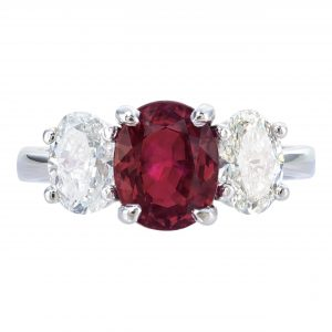 2.06ct Oval Ruby & Diamond Three-Stone Ring